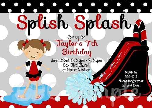 Black, Red, Grey Splis Splash Waterslide | Pool Party Invitations - Printable or Printed