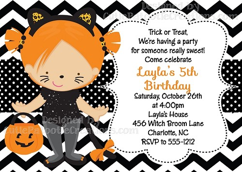 Black Cat Trick or Treat Costume Party Birthday Invitations | Halloween Party Invitations - Printable or Printed