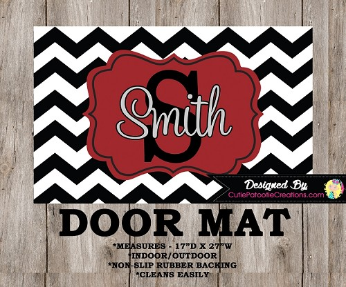 Monogrammed Red and Black Chevron Door Mat