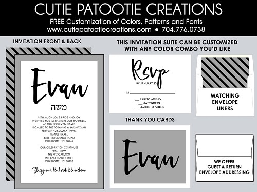Bar Mitzvah Invitations - Black, Grey, White Stripes - Custom Colors Available