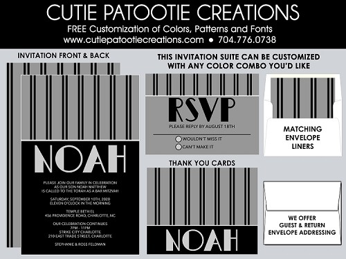 Black and Grey Pinstripe Bar Mitzvah Invitations, Custom Colors Available