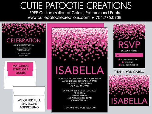 Hot Pink and Black Confetti Bat Mitzvah Invitation - Custom Colors Available