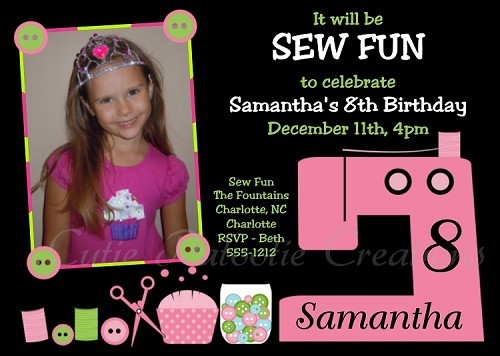 Girls Sewing Birthday Party Invitations