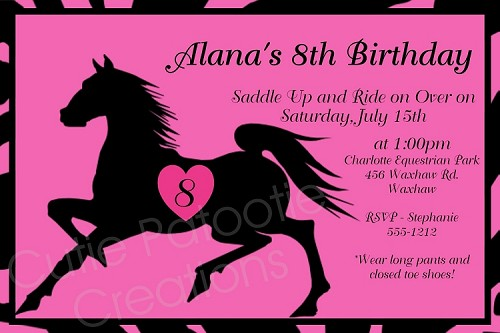 Black Stallion Horse Birthday Invitation, Printable or Printed