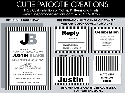Black, White and Grey Striped Bar Mitzvah Invitation - Custom Colors Available