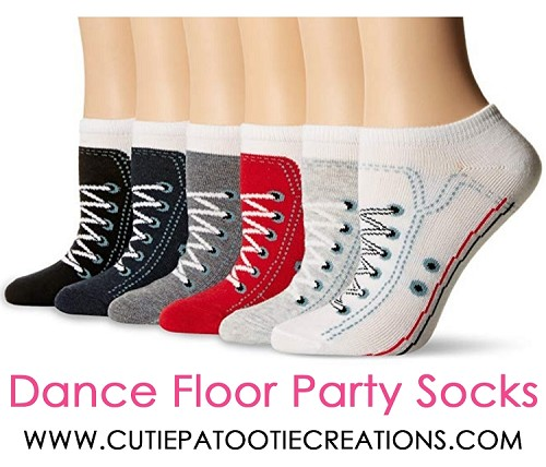 Dance Floor Party Socks - Black, White and Red Sneaker Mitzvah Socks