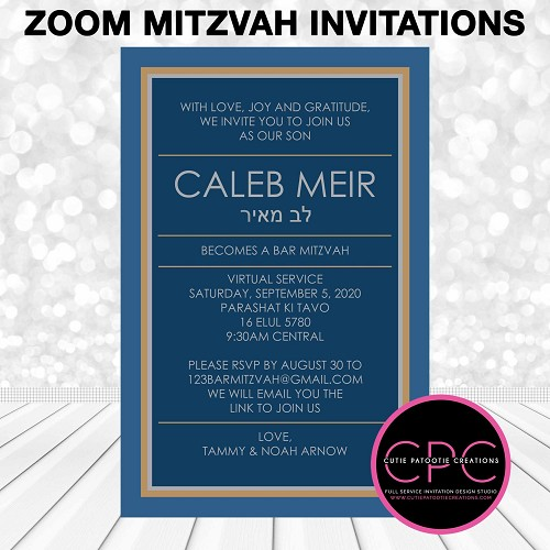 Blue and Gold Zoom Bar Mitzvah Invitations