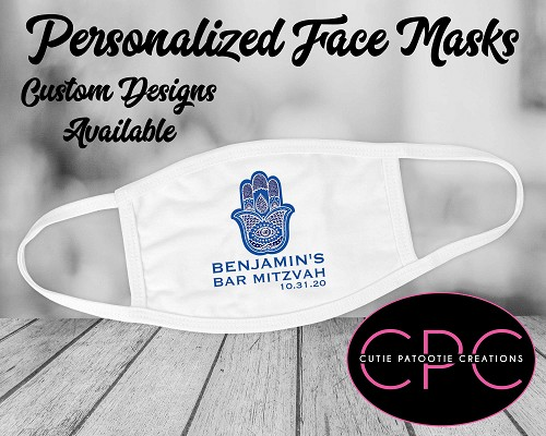 Personalized Blue Hamsa Bar Mitzvah Face Mask