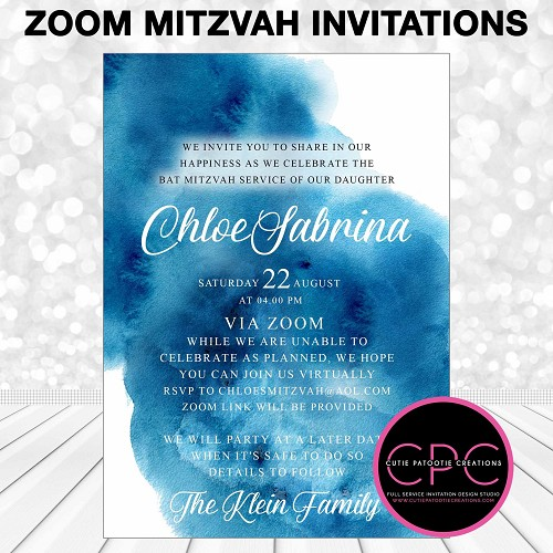 Zoom Mitzvah Invitations, Blue Watercolor, Virtual Service Invitation