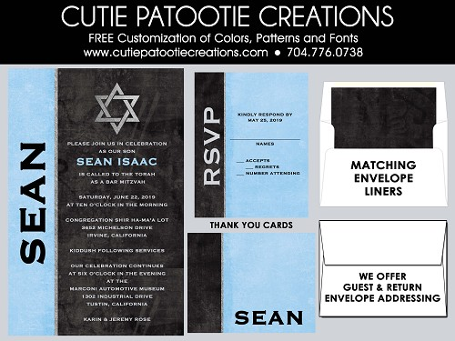 Black and Blue Bar Mitzvah Invitations with Silver Jewish Star | Custom Colors Available