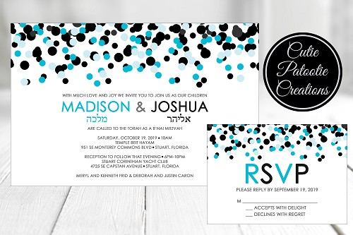 Tiffany Blue and Black Confetti Bnai Mitzvah Invitations - Custom Colors Available