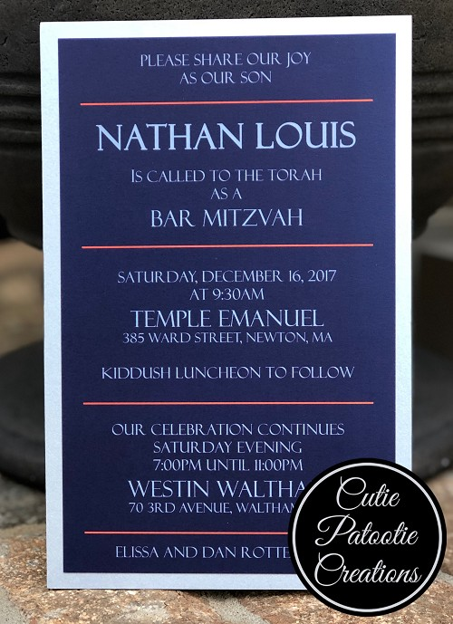 Navy Blue and Orange Bar Mitzvah Invitation mounted on Silver Metallic Layer - Custom Colors Available