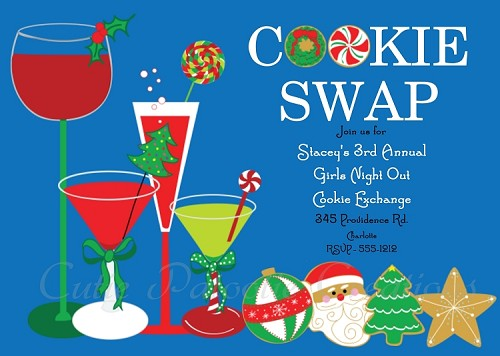 Cookie Swap Cookie Exchange Holiday Party Invitation - Printable or Printed