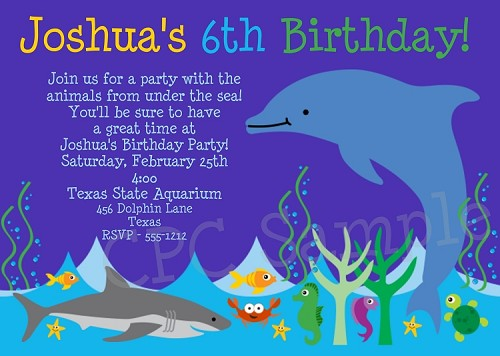 Dolphin Aquarium Birthday Invitations
