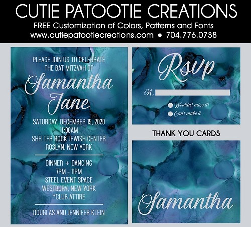 Shades of Blue Water Color Bat Mitzvah Invitations