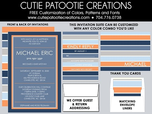 Orange, Blue and Grey Striped Bar Mitzvah Invitations - Custom Colors Available