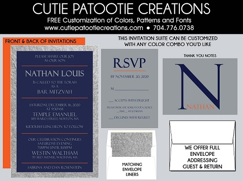 Silver, Blue and Orange Bar Mitzvah Invitations - Custom Colors Available