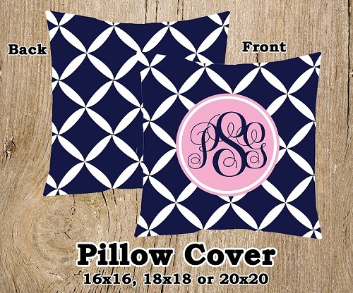 Monogrammed Pillow Cover - Navy Blue and Pink Pattern