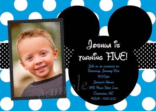 Photo Invitations with Blue and White Polka Dots | Mickey Mouse Invitations - Printable or Printed