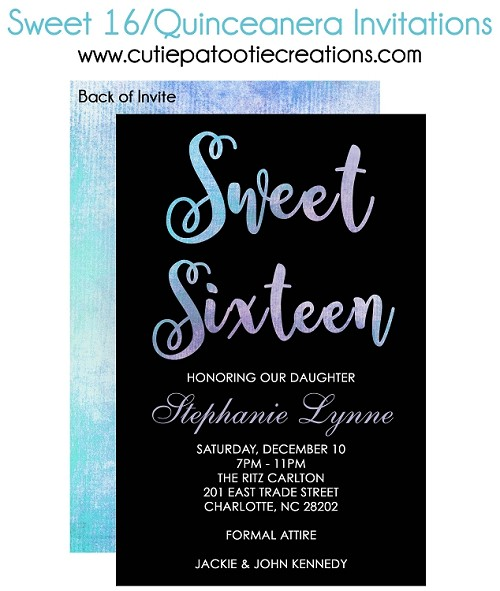 Blue Watercolor Sweet 16 Invitations, Quinceanera Invitations, 15th Birthday Party Invitation