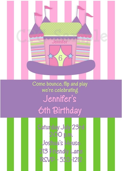 Bounce House Castle Birthday Party Invitations for Girls - Printable or Printed