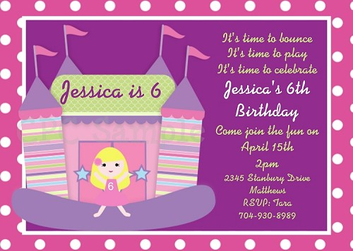 Bounce House Birthday Party Invitation - Printable or Printed