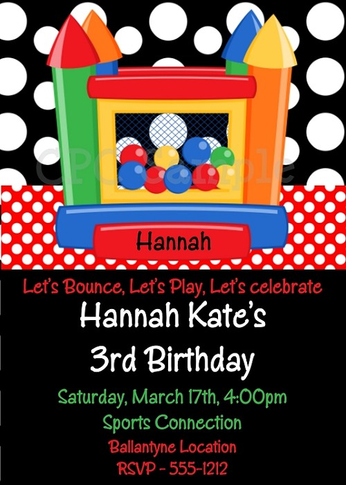 Bounce House Birthday Party Invitations - Printable or Printed