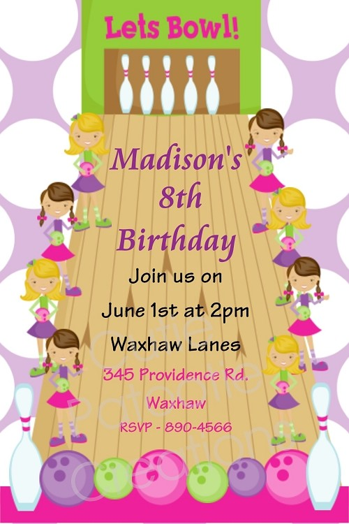 Pink and Green Bowling Birthday Party Invitations