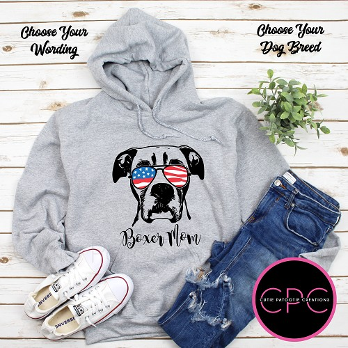 Boxer Mom Personalized Hooded Sweatshirt with or without USA Sunglasses