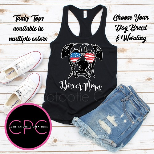 Personalized Boxer Mom Tank Top with or without USA Sunglasses
