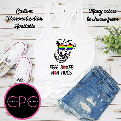 Free Boxer Mom Hugs Tank Top with or without Pride Sunglasses