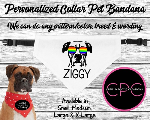 Personalized Boxer Dog Over the Collar Pet Bandana with or without Sunglasses