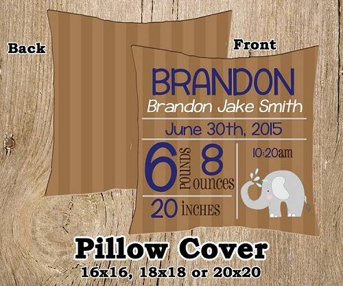 Birth Announcement Pillow Elephant Jungle Theme