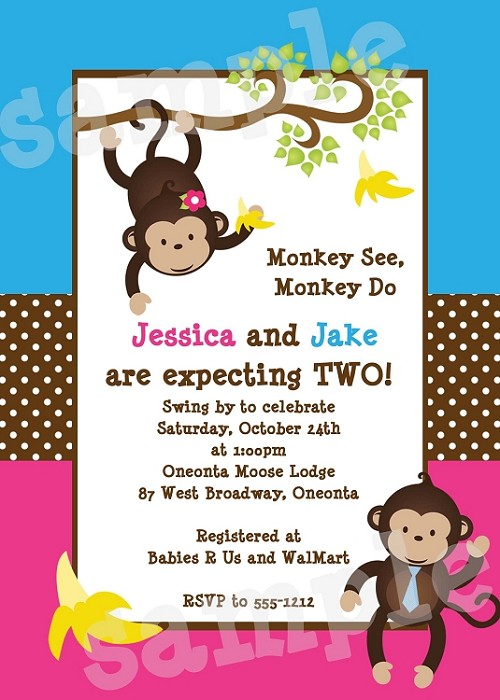 Boy Girl Monkey Baby Shower Invitation for Twins