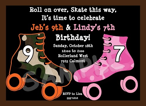 Pink and Green Camo Roller Skating Birthday Invitation - Boy Girl
