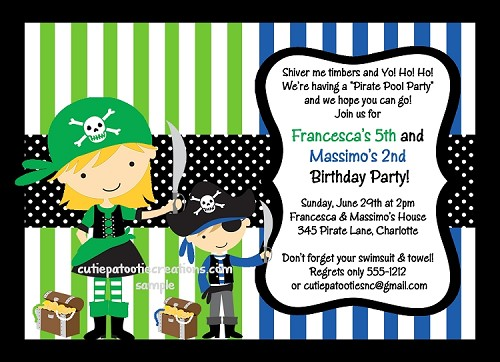 Pirate Birthday Party Invitations for Siblings - Printable or Printed