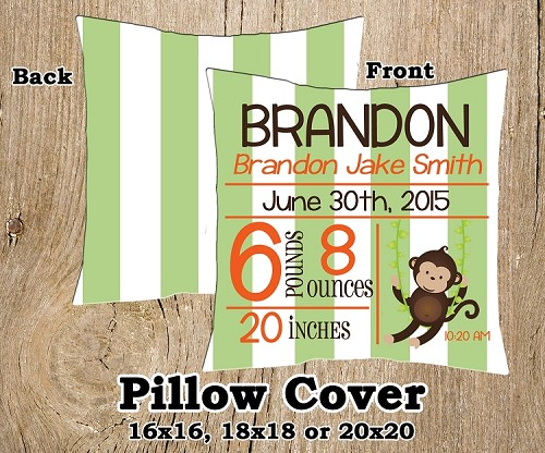 Blue, Orange & Green Boy Monkey Birth Announcement Pillow Cover (COPY)