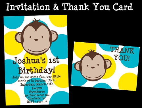 Boy Mod Monkey Birthday Party Package Printable Digital DiY