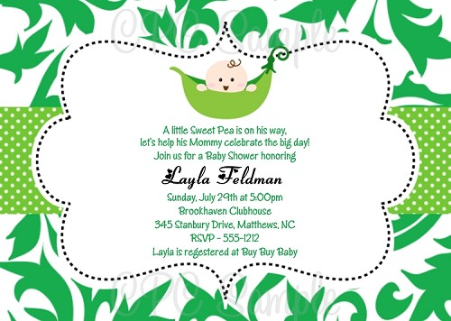 Pea in the Pod Baby Shower Invitation