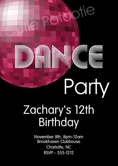 Disco Dance Birthday Party Invitations - Printable or Printed