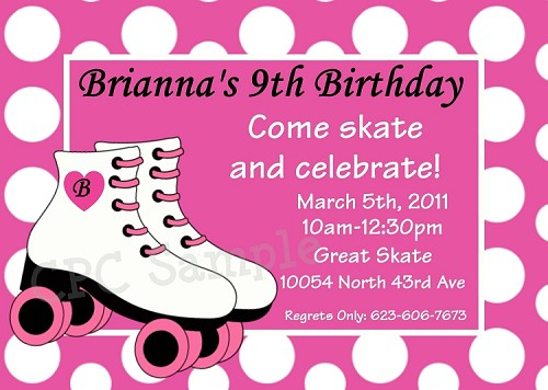 Pink Polka Dot Roller Skating Party Invitations - Printable or Printed