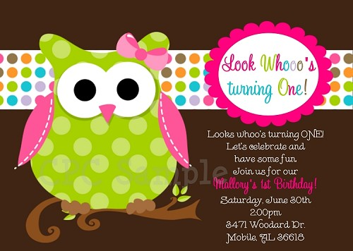 Owl Birthday Party Invitations - Brown and Green - Printable or Printed
