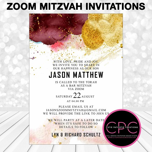 Zoom Mitzvah Invitations, Burgundy and Yellow Watercolor