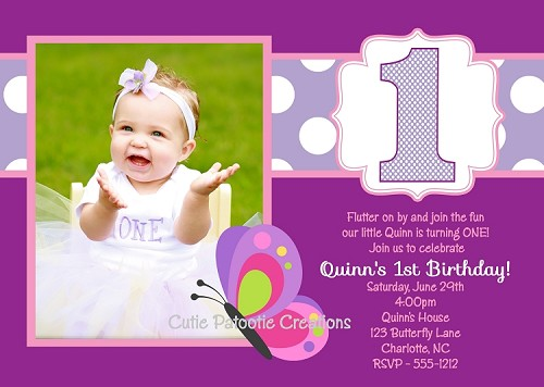 Purple Butterfly Birthday Party Invitations