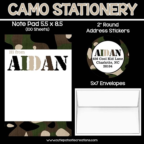 Green Camouflage Personalized Custom Notepads, Stationery, Stickers