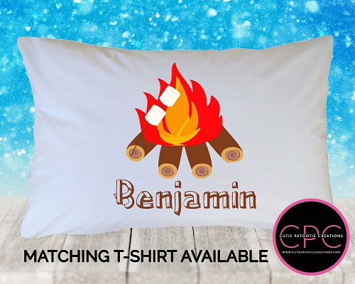 Personalized Campfire and Smores Pillowcase