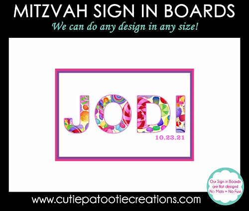 Candy Bat Mitzvah Sign in Board - We can do any name