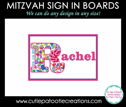 Candy Theme Bat Mitzvah Sign in Board