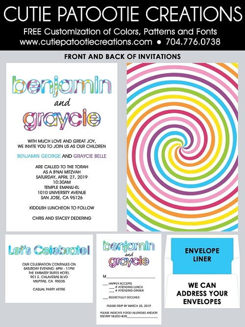 Candy Theme B'Nai Mitzvah Invitations - Swirly Pop Candy B'not & B'nai Mitzvah Invitations