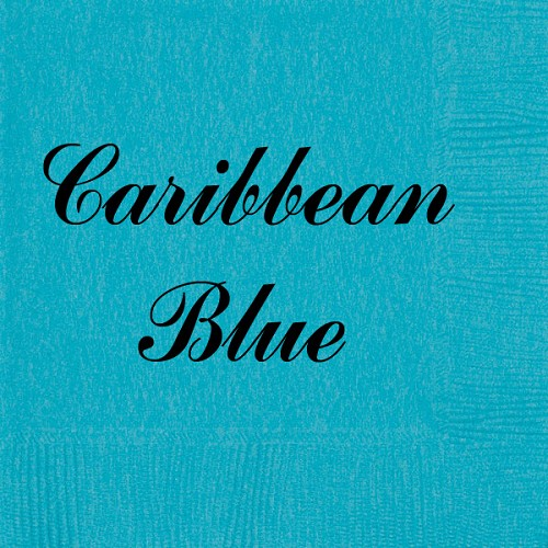 Personalized Caribbean Blue Napkins - Beverage, Cocktail, Dinner & Guest Towels